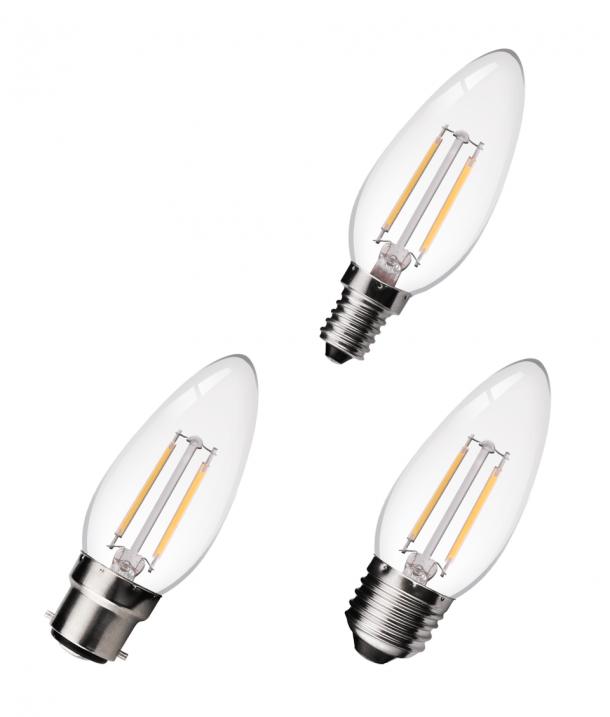 Clear Candle LED Filament Bulbs