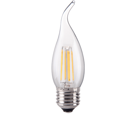 Clear Bent Tip Candle LED Filament