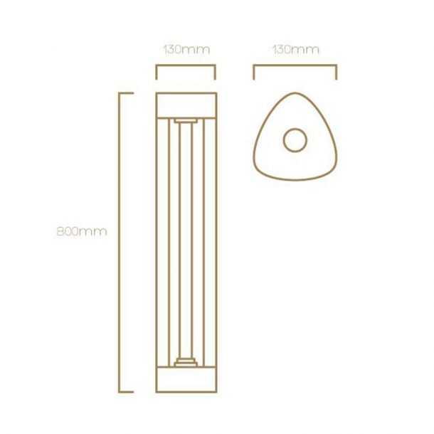 Technicall Illustration of Helion Bollard Light
