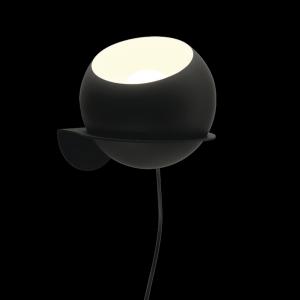 Sphere Plug in Flat Wall Light Black