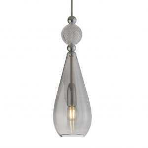 Smykke Pendant Crystal Ball Smokey Grey