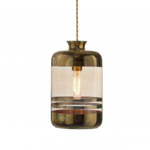 Pillar Pendant Gold Stripe Golden Smoke