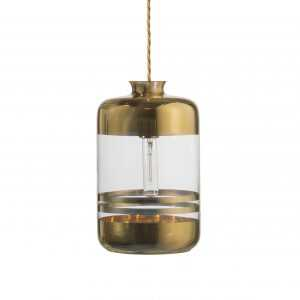 Pillar Pendant Gold Stripe Clear