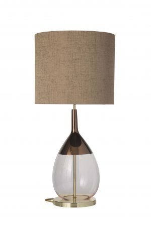 Lute Table Lamp Copper Coral and Shade