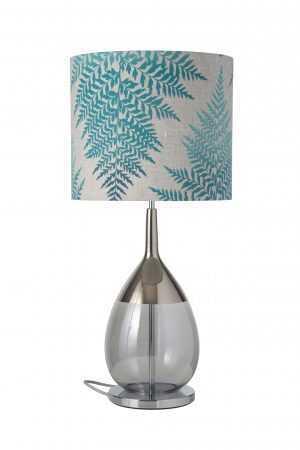 Lute Table Lamp Platinum Smokey Grey and Shade