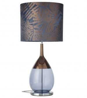 Lute Table Lamp Copper Deep Blue and Shade