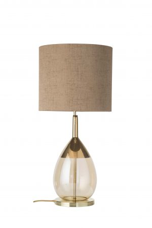 Lute Table Lamp Gold Golden Smoke and Shade