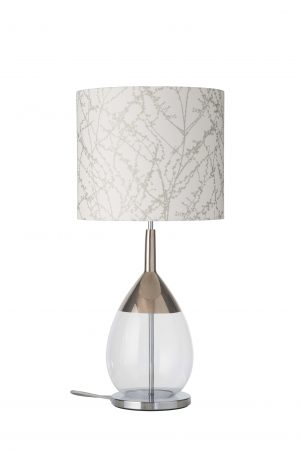 Lute Table Lamp Platinum Clear and Shade
