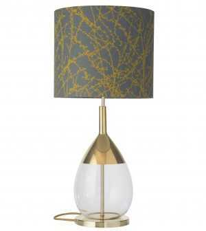 Lute Table Lamp Gold Clear and Shade