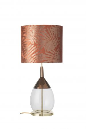 Lute Table Lamp Copper Clear and Shade