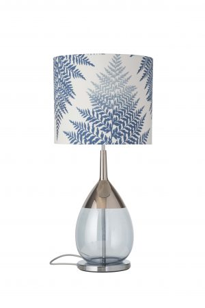 Lute Table Lamp Platinum Topaz Blue and Shade