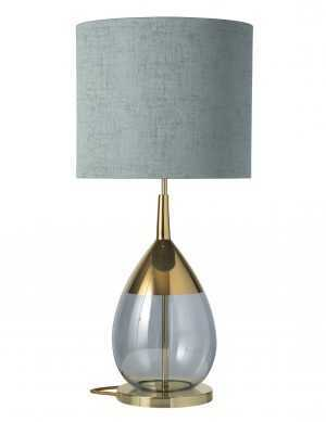 Lute Table Lamp Gold Topaz Blue and Shade