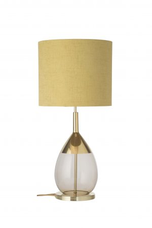Lute Table Lamp Gold Chestnut Brown and Shade