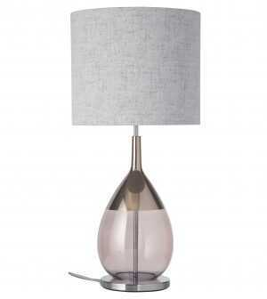 Lute Table Lamp Platinum Obsidian and Shade