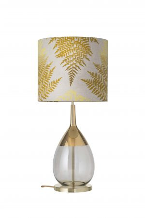 Lute Table Lamp Gold Smokey Grey and Shade