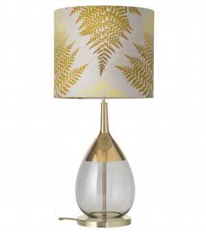 Lute Table Lamp Gold Smokey Grey and Shade