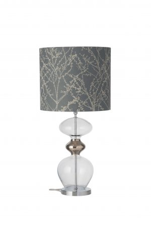 Futura Table Lamp Clear Platinum and Shade
