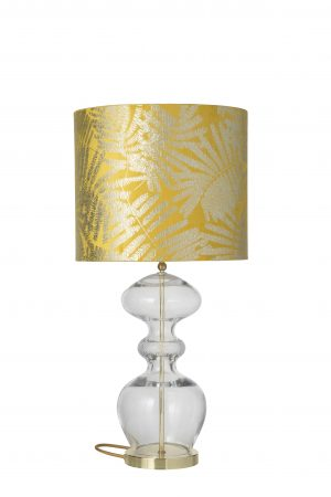 Futura Table Lamp Mini Check Crystal Gold and Shade