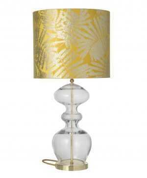 Futura Table Lamp Mini Check Crystal Gold and Shade