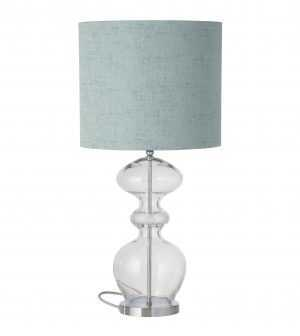 Futura Table Lamp Mini Check Crystal Silver and Shade