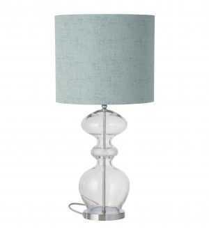 Futura Table Lamp Mini Check Crystal Silver and Shade