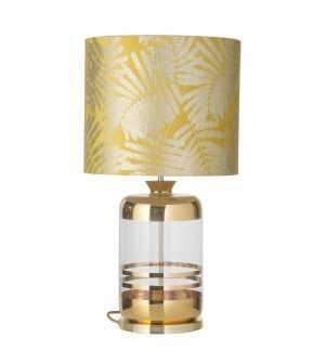 Pillar Table Lamp Gold Stripes Clear and Shade