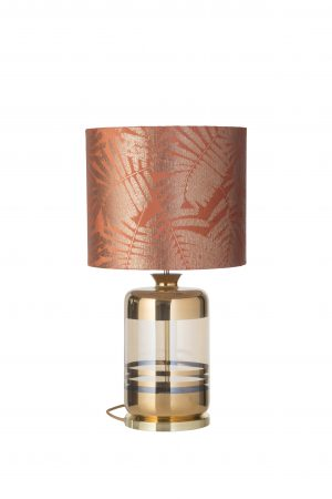 Pillar Table Lamp Gold Stripes Golden Smoke and Shade