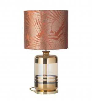 Pillar Table Lamp Gold Stripes Golden Smoke and Shade