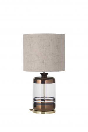 Pillar Table Lamp Copper Stripes Clear and Shade