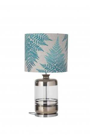 Pillar Table Lamp Platinum Stripes Clear and Shade