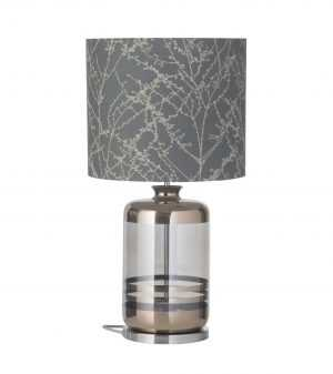 Pillar Table Lamp Platinum Stripes Smokey Grey and Shade