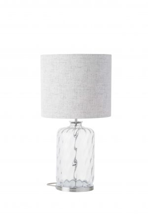 Pillar Table Lamp Clear Dimples Silver and Shade
