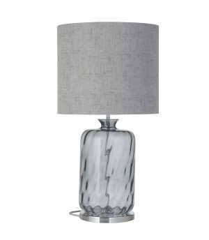 Pillar Table Lamp Smokey Grey Dimples and Shade