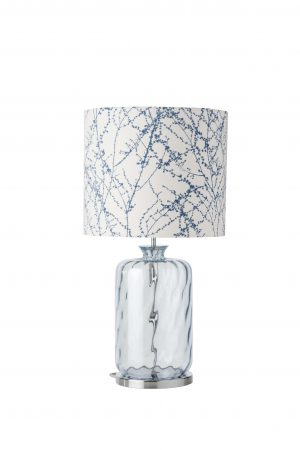 Pillar Table Lamp Topaz Blue Dimples and Shade