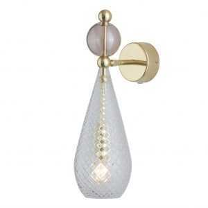 Smykke Wall Light Obsidian Ball Crystal Gold