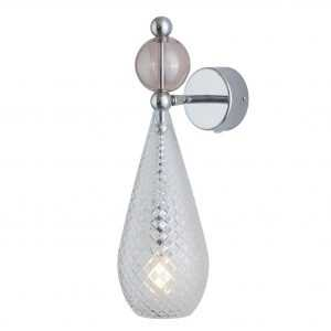 Smykke Wall Light Obsidian Ball Crystal Silver