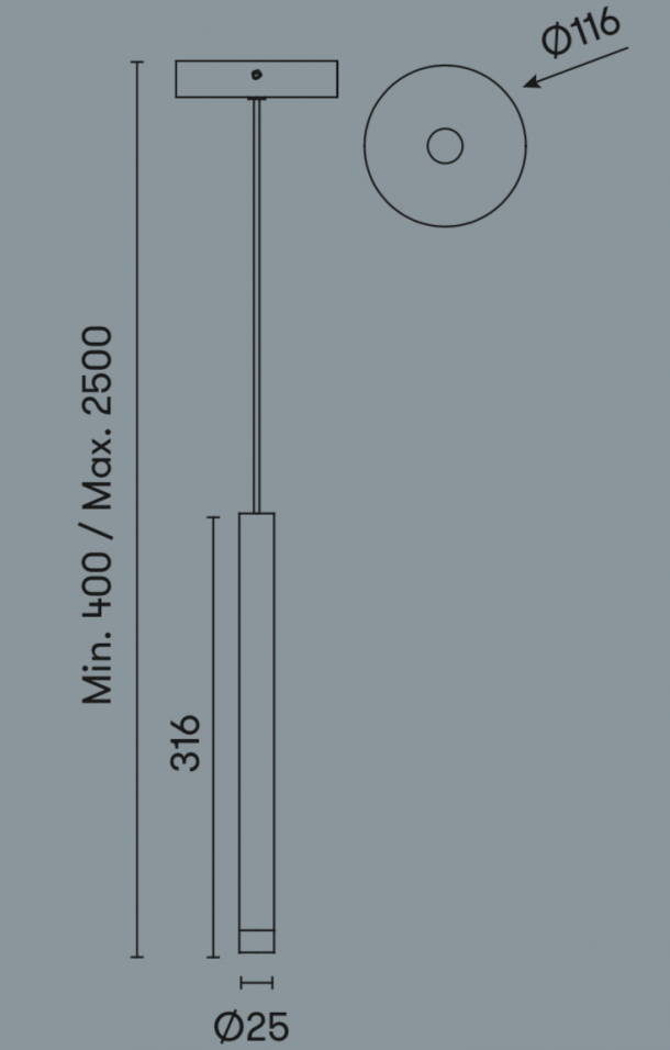 Candle Pendant Technical Drawing.